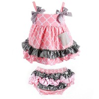 ANDI ROSE Fashion Baby Toddlers Cute Soft Cotton Lovely Dress+Underpants Outfit (Size M, Pink lantern)
