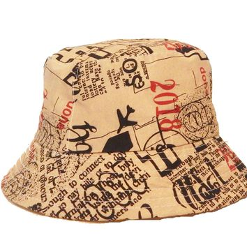 Mens Womens Tan Writing Bucket Hat Cotton Fishing Camping Hunt Camo Boonie
