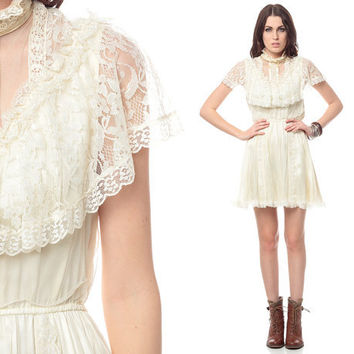 White Lace Dress 70s GUNNE SAX Mini Boho CAPELET by ShopExile