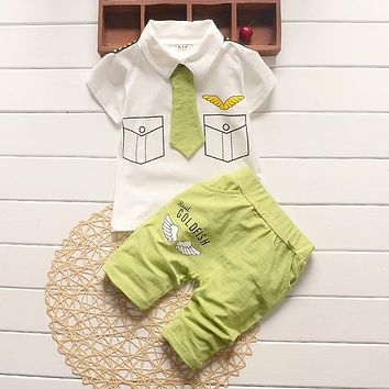 Abacaxi Kids Goldfish Cute Shirt Pants and Tie Outfit 9-24M