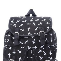 Canvas Backpack with Cross Print and Two Front Pockets