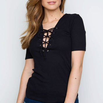 Why Not Lace Up Top - Black