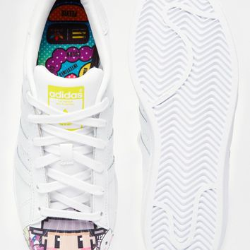 adidas Originals Pharrell Printed Faces Suede Superstar Sneakers
