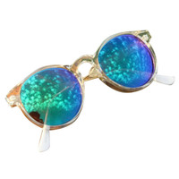 Round Sunglasses with Transparent Frame
