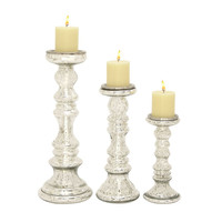 Benzara Alluring Set of Three Glass Candle Holder