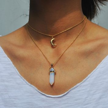 Natural Opal Stone Moon Choker Necklace Fashion Gold Color Stone Stone Crystal Pendant Necklace for Women 171127