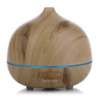 BESTEK 300ml Wood Grain Essential Oil Diffuser, Aromatherapy Ultrasonic Cool Mist Aroma Humidifier with 7 changing LED light,Waterless Auto Shut-off,Safety for kids