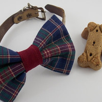 Dog Bow Tie  Tartan Plaid Pet Accessories Dog Clothing Dog Collar Wedding Ring Bearer