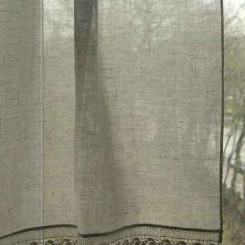 Linen Kitchen Curtain Panels Rustic Chic Home Decor Natural Gray Linen Lace