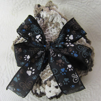 Knit Dishcloth/Washcloth/Dish Rag/Wash Rag Set of two Made with 100% Cotton Yarn in Brown's With Paw Print Bow Ready to ship