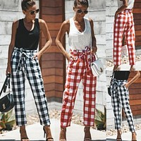 Casual Pocket Plaid High Waist Pants