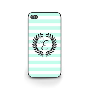 Tiffany blue striped iPhone case + Samsung Galaxy case + BlackBerry case / Personalize with your initial #tiffany #phonecase #iphone6