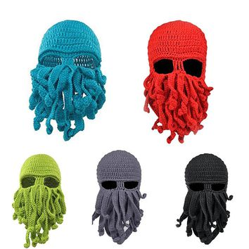 New ON SALE Unisex Octopus Winter Warm Knitted Wool Face Mask Hat Squid Cap Cthulhu Tentacles Beanie Hat