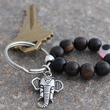 Evil Eye Protection & Elephant Keychain Lucky Keychain Yoga Keychain Stocking Stuffer Yoga Accessories Yoga Gifts under 10 Key Chain Charms