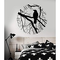 Vinyl Wall Decal Bird Branch Crow Gothic Style Circle Bedroom Design Stickers Unique Gift (801ig)