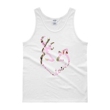 Heart shaped Buck and Doe Love in a Pink Camo Tank top