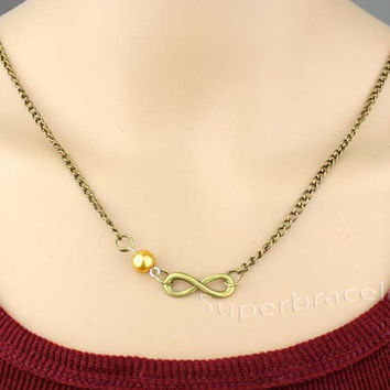 Fashion infinity necklace - antique color milk tea necklace - a special gift - to girlfriend and BFF