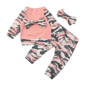 Pink Camo Baby Girl Outfit/ Top, Pants & Headband Set