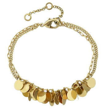 Alloy Layered Sequins Chain Adorn Bracelet