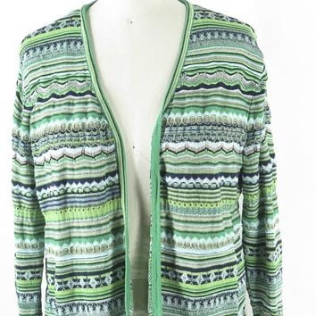 Chico's Cotton Open Front Cropped Cardigan Sweater Green  & Metallic L/S Sz 2 L