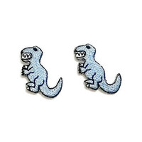 Set 2 pcs. Blue Dinosaur Patch - Tyrannosaurus T Rex New Iron On Patch Embroidered Applique Size 2.5cm.x3cm.