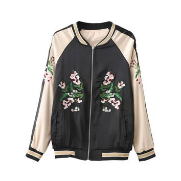 On Sale Sports Hot Deal Pastoral Style Floral Embroidery Double Sided Jacket Baseball [8542264007]