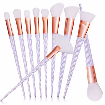 10pcs/set Maquiagem Thread Unicorn Makeup brushes Beauty Cosmetics  Foundation Blending Blush Make up Brush tool Kit Set