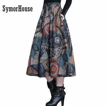 Autumn Winter Maxi Woolen Skirt Women Retro Thick High Waist Long Skirt Faldas Big Swing Pleated Prints Wool Skirts Women