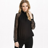 Black Mesh And Lace Embroidered Long Sleeve Halter Neck Blouse