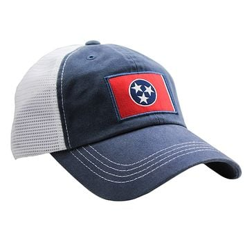 Tennessee Flag Trucker Hat in Navy by State Traditions