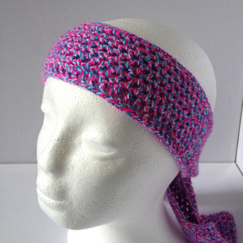 Pink Head Scarf, Crochet Headband, Pink and Blue Hair Band, Bright Pink Mesh Head Scarf, Gypsy Style, Festival Chic,Crochet Mesh Band