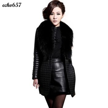 Women Coat New Design Echo657 Hot Sale Fashion Women Winter Faux Leather Fur Long Sleeve Coat Outerwear Long Overcoat Nov 28