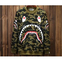 Bape couple models autumn and winter new shark camouflage pullover sweater F-A-KSFZ Green