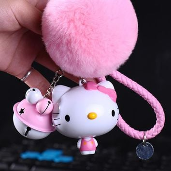 Cartoon Fur Pom Pom Hello Kitty Keychain KT Tape Measure Keyring Women Car Bag Pendant Key Chains Automatic Contraction Ruler