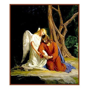 Jesus talking to Angel Gesthemane Religion by Bloch Counted Cross Stitch Pattern