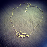 Arabic Calligraphy Name Necklace Gold Plated Hand Cut Brass Arabic Jewelry Arabic Name Jewelry Arabic Name Necklace Custom Arabic jewelry