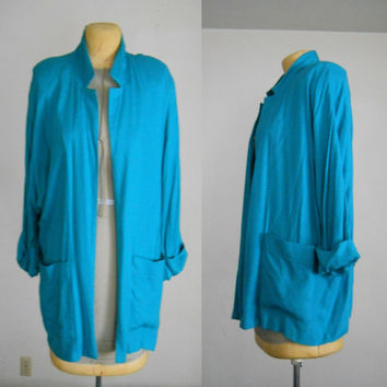 Oversized Blazer / Teal Plus Size Blazer Vintage 80s Spring Casual with Pockets and Shoulder Pads Size 18 W / 38