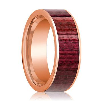 Mens Wedding Band Polished Flat 14k Rose Gold Wedding Ring with Purpleheart Wood Inlay - 8mm