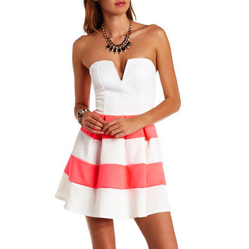 PLUNGING SWEETHEART STRIPED STRAPLESS SKATER DRESS