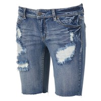 Mudd Destructed Bermuda Cutoff Jean Shorts - Juniors, Size: