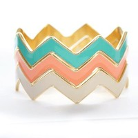 Chevron Bangles in Multi - Jewelry