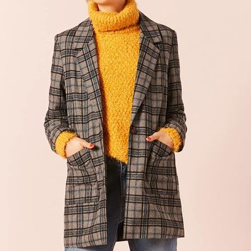 Single-Breasted Plaid Blazer