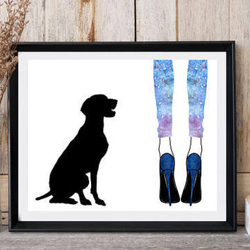 Pointer dog breed, Dog print, Woman legs, High heels, Colorful legging, Greeting card, Seated dog, Printable art, Wall decor, Fashion art