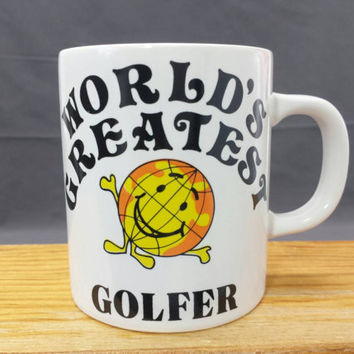 Vintage Golf Mug, World's Greatest Golfer, Retro Gifts for Him Her, Vintage Ceramic Coffee Mug Cup, Golfing Gift Ideas, Norcrest Japan