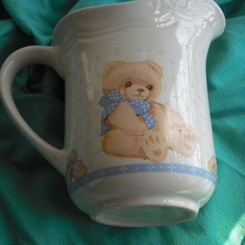 Pitcher - Teddy Bear pitcher - Ceramic pitcher - Utensil holder - Tea pitcher - Milk Pitcher - Coffee pot - Grandma's Kitchen