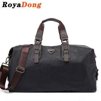 RoyaDong 2017 Leather Travel Bag Men Big Tote Vintage Large Black Handbags Business Luggage Man's Bags