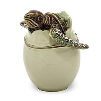 Enameled & Crystal Turtle Hatchling Trinket Box