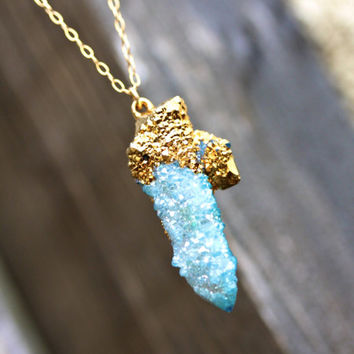 Spirit Quartz Cactus Quartz Gold Necklace 24k Gold by MeiElizabeth