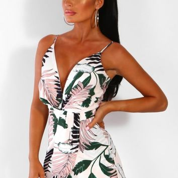Summer Skyline White Multi Palm Print Wrap Playsuit