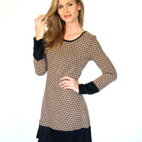 Alysa Textured Knit Dress with Solid Contrast: Taupe